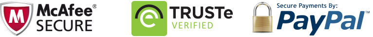 McAfee Certified, Trust-e Verified and PayPal payments